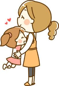 子供を抱っこする女性のイラスト